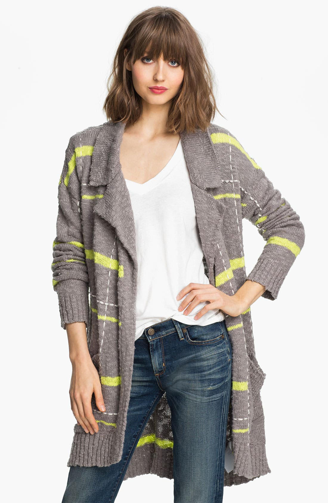 Main Image - Splendid 'Beach' Plaid Oversized Cardigan