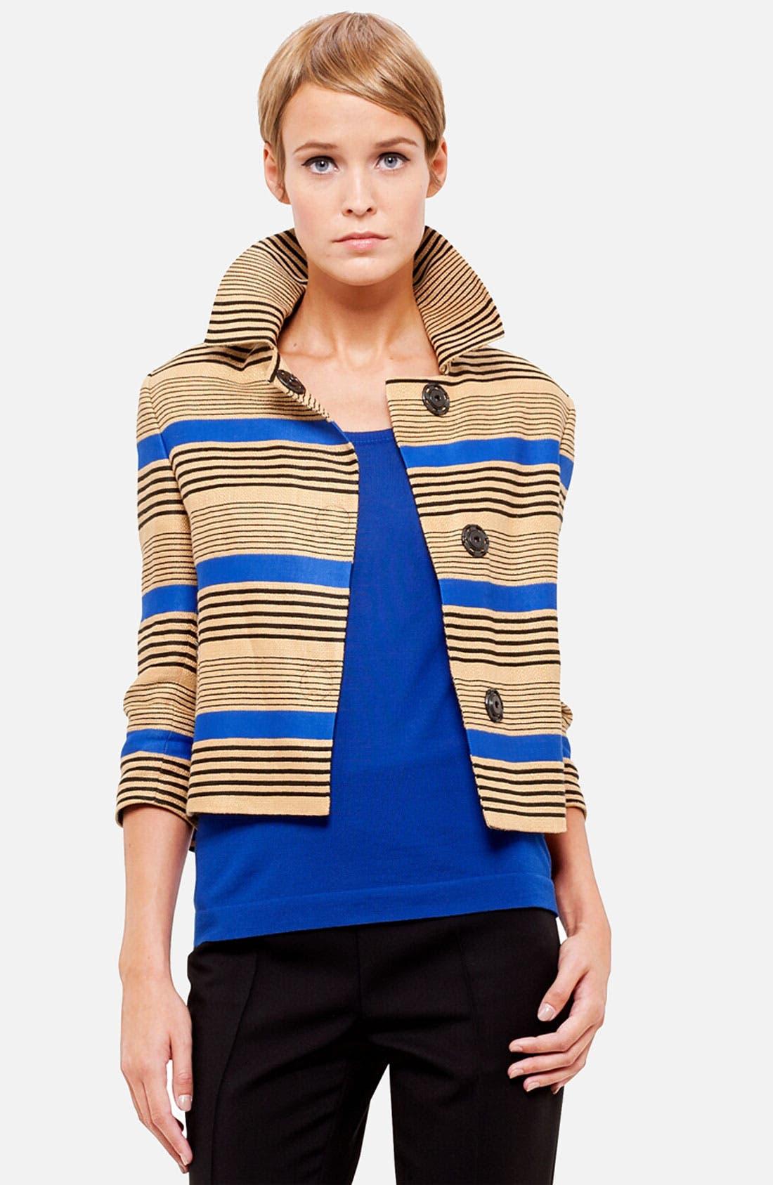 Stripe Linen Blend Jacket,                         Main,                         color, Cannelle/ Royal/ Noir