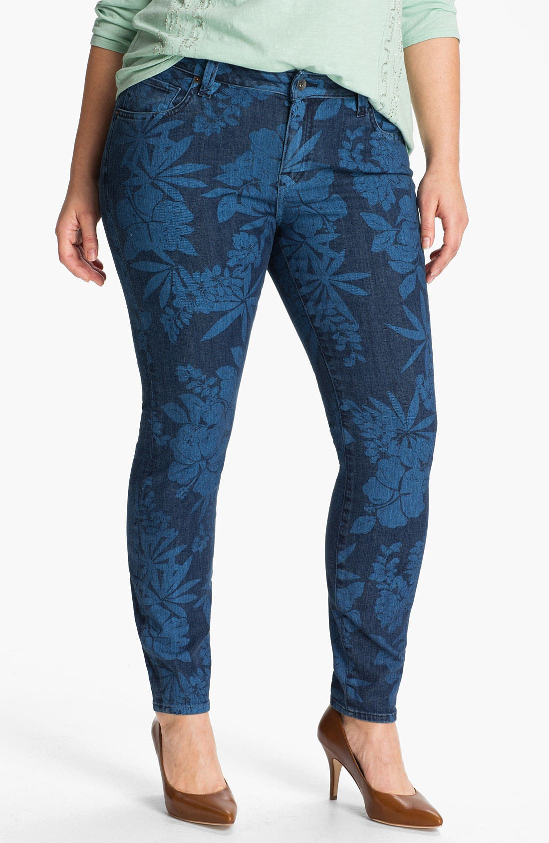Main Image - Lucky Brand 'Ginger' Print Skinny Jeans (Plus)