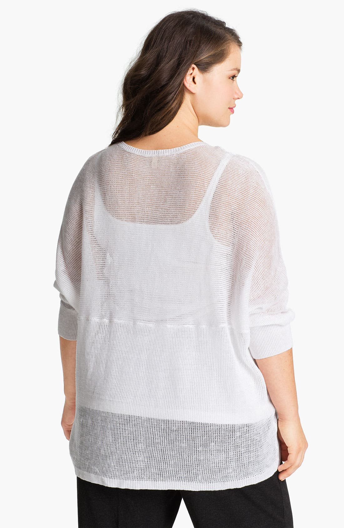 Alternate Image 2  - Eileen Fisher Sheer V-Neck Linen Sweater (Plus)