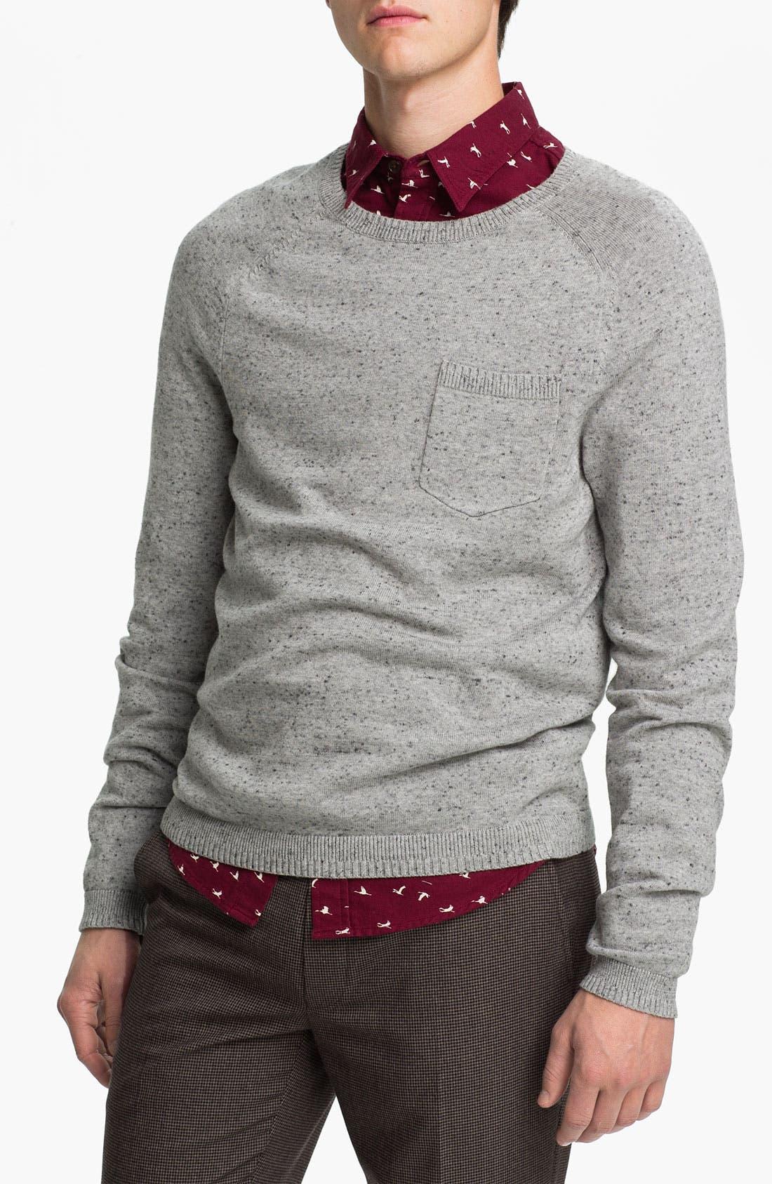 Alternate Image 1 Selected - Topman Pocket Crewneck Sweater