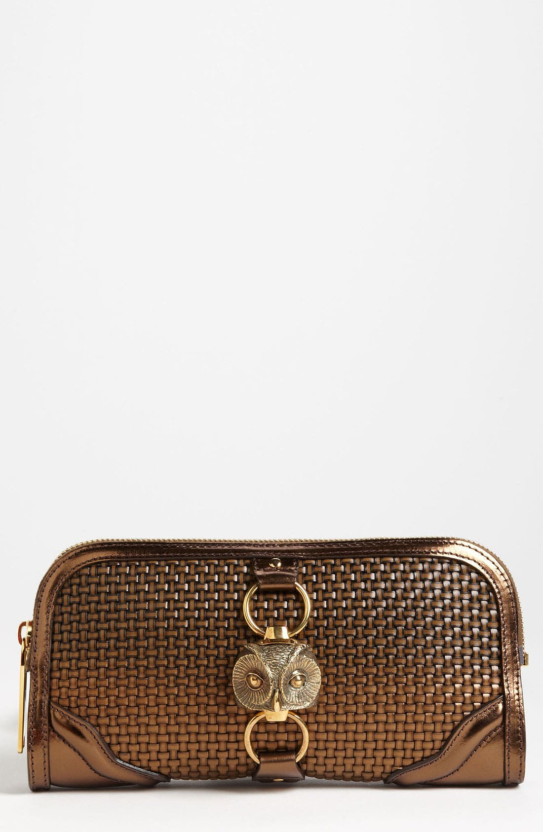 Main Image - Burberry 'Metallic Woven' Leather Clutch