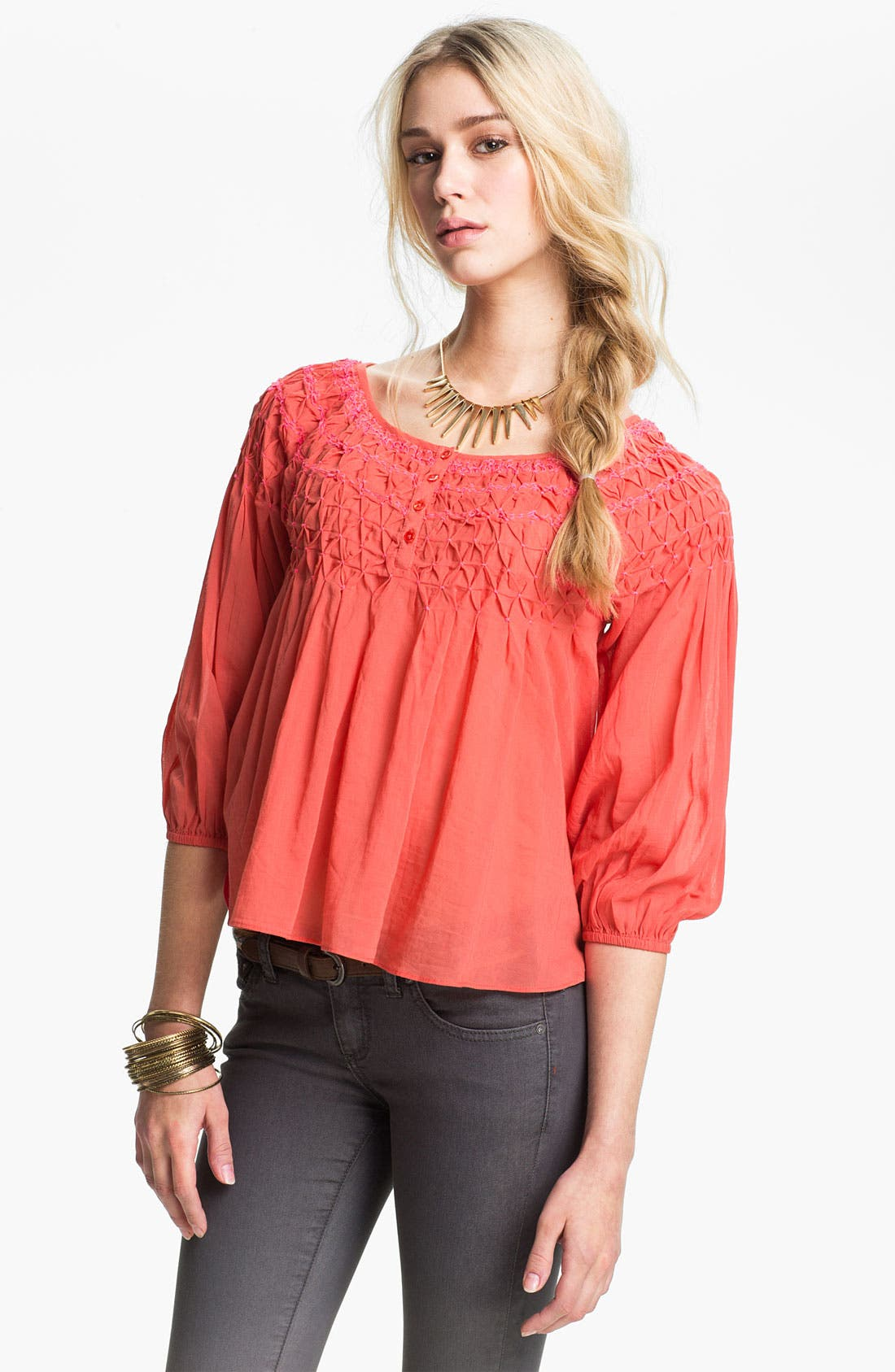 Embroidered Peasant Blouse,                         Main,                         color, Coral