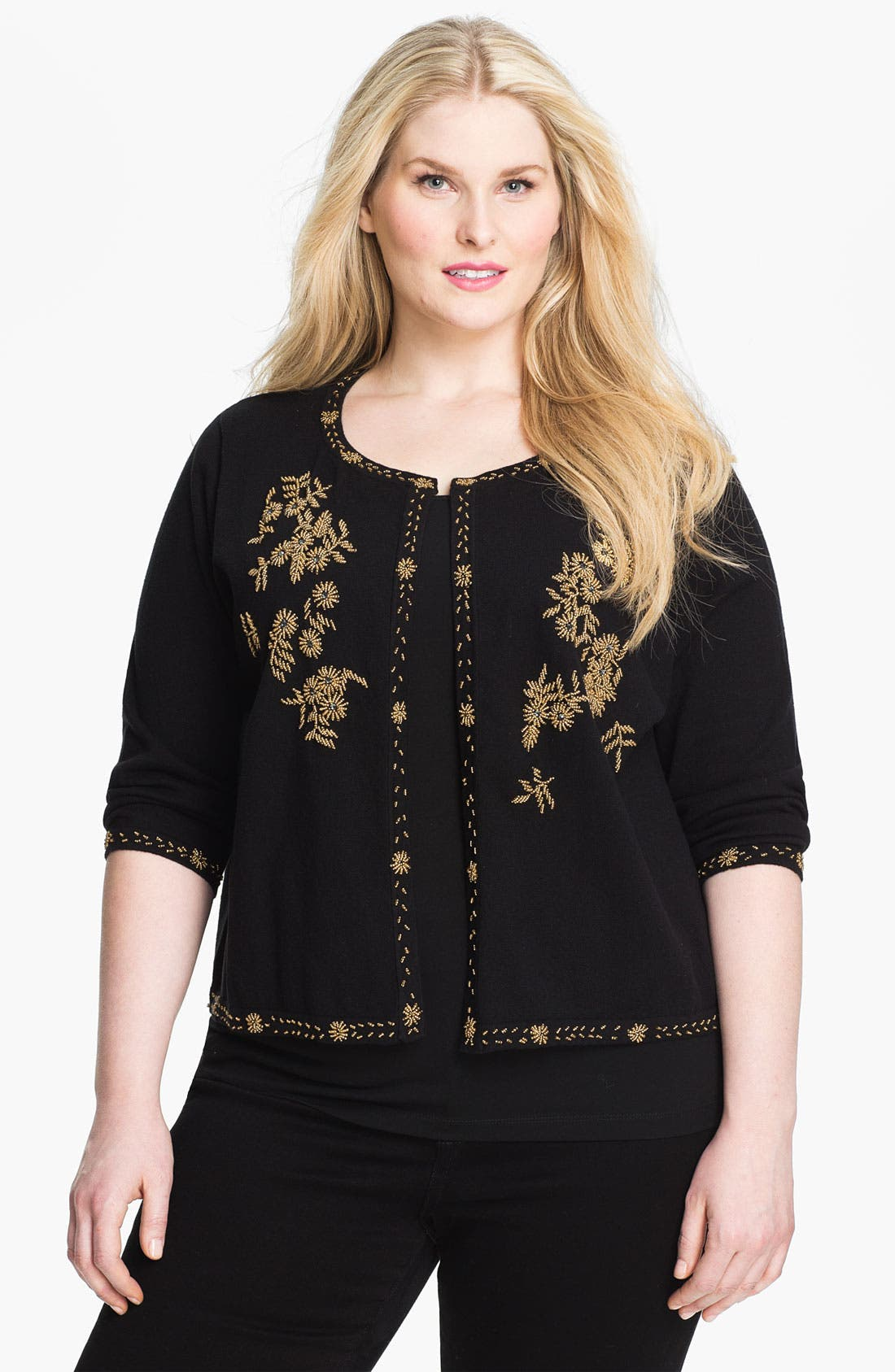 Alternate Image 1 Selected - Evans 'Matador' Open Front Cardigan (Plus Size)