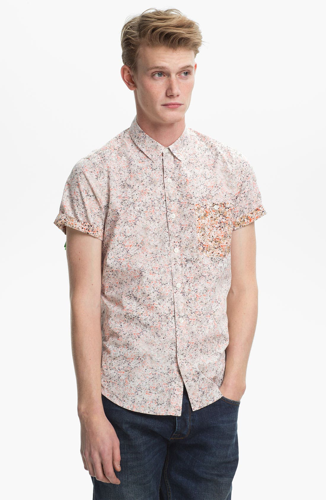 Alternate Image 1 Selected - Topman Paint Splatter Print Shirt