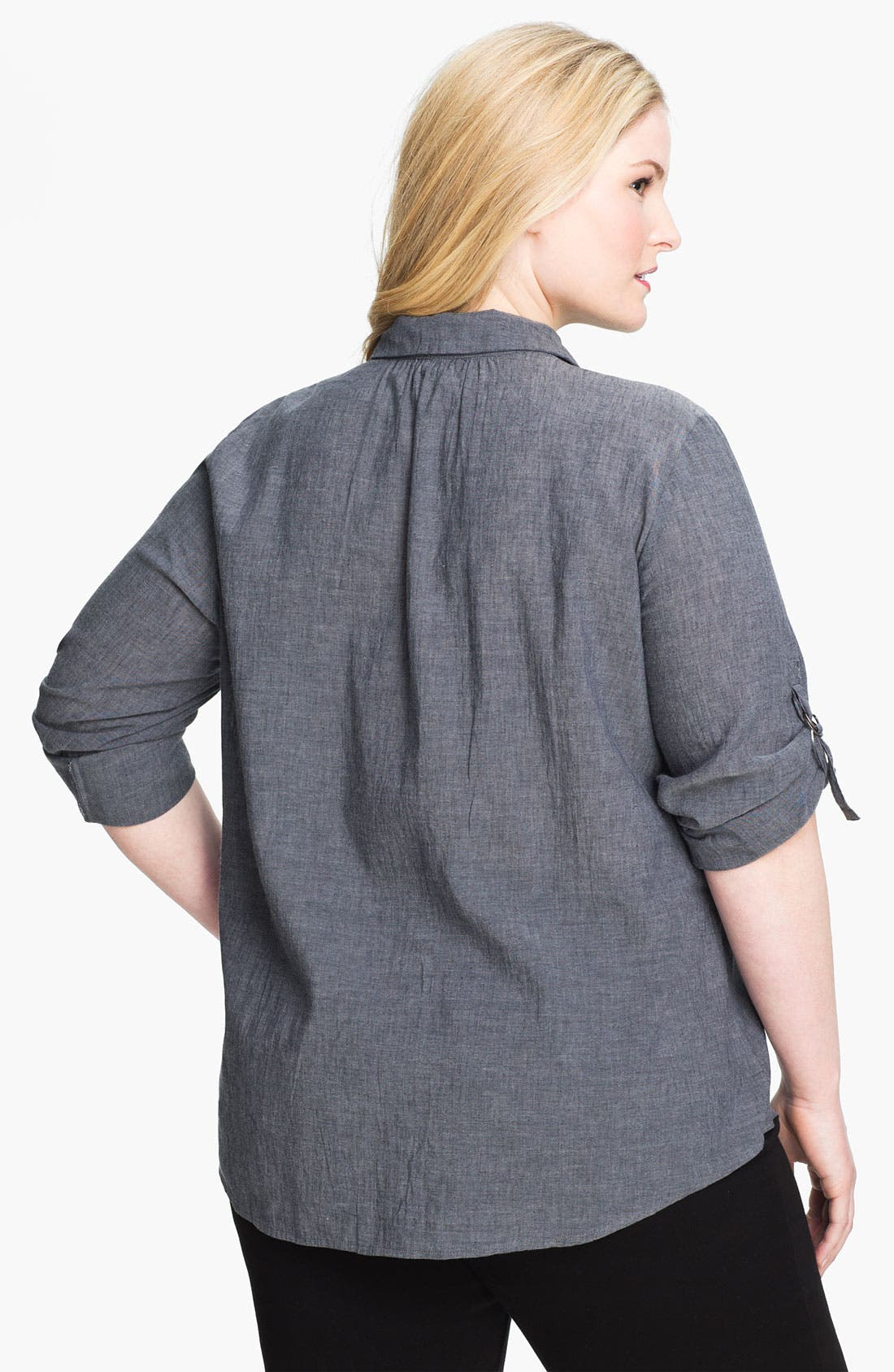 Alternate Image 2  - Eileen Fisher Roll Sleeve Chambray Shirt (Plus Size)