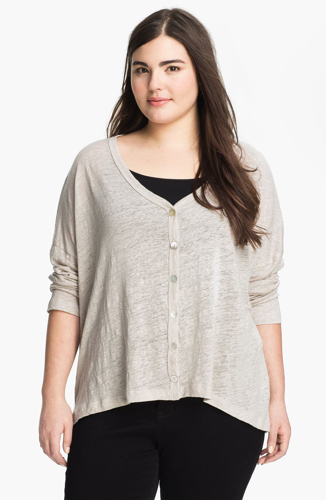 Main Image - Chalet 'Lexi' Drop Shoulder Linen Cardigan (Plus)