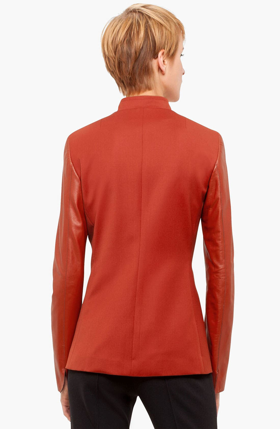 Alternate Image 2  - Akris punto Leather Sleeve Gabardine Jacket