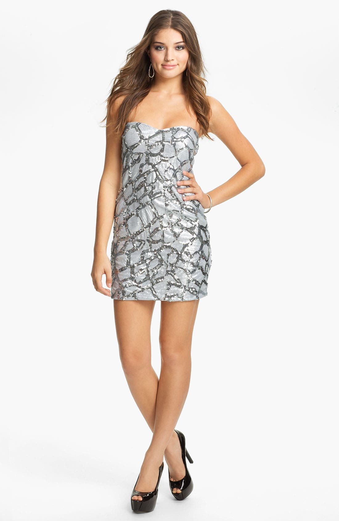 Alternate Image 1 Selected - As U Wish Embellished Animal Print Body-Con Dress (Juniors)