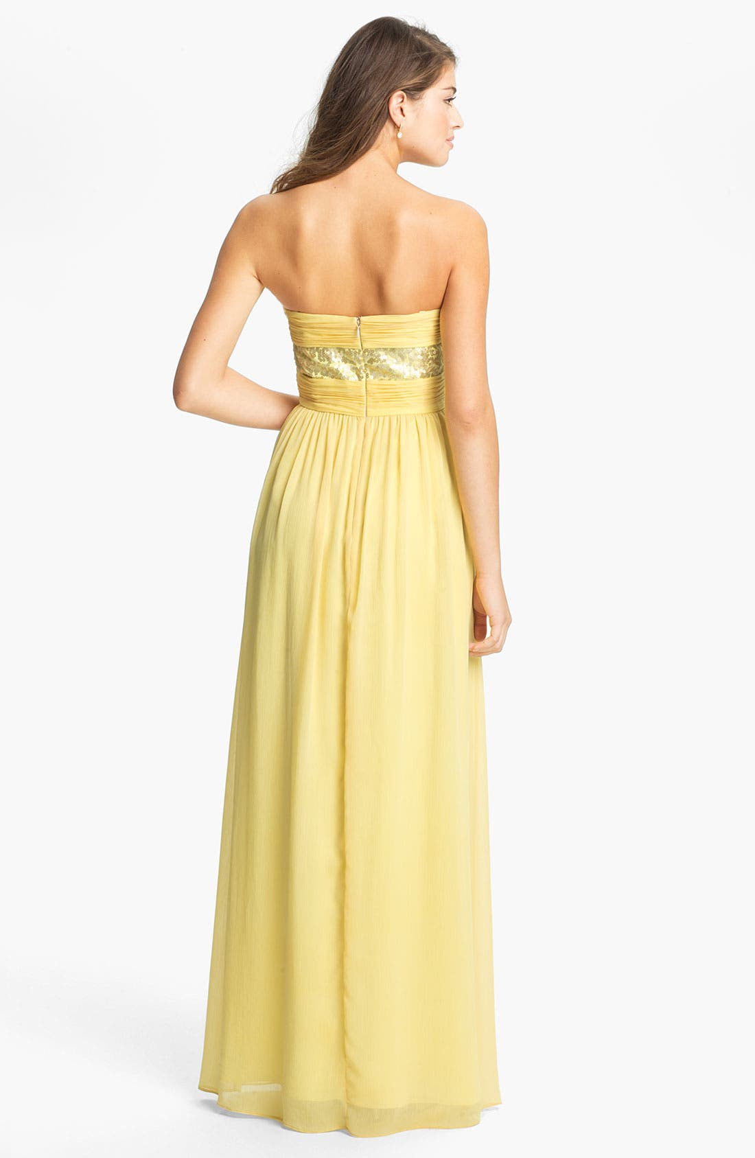 Alternate Image 2  - Max & Cleo Strapless Chiffon Gown