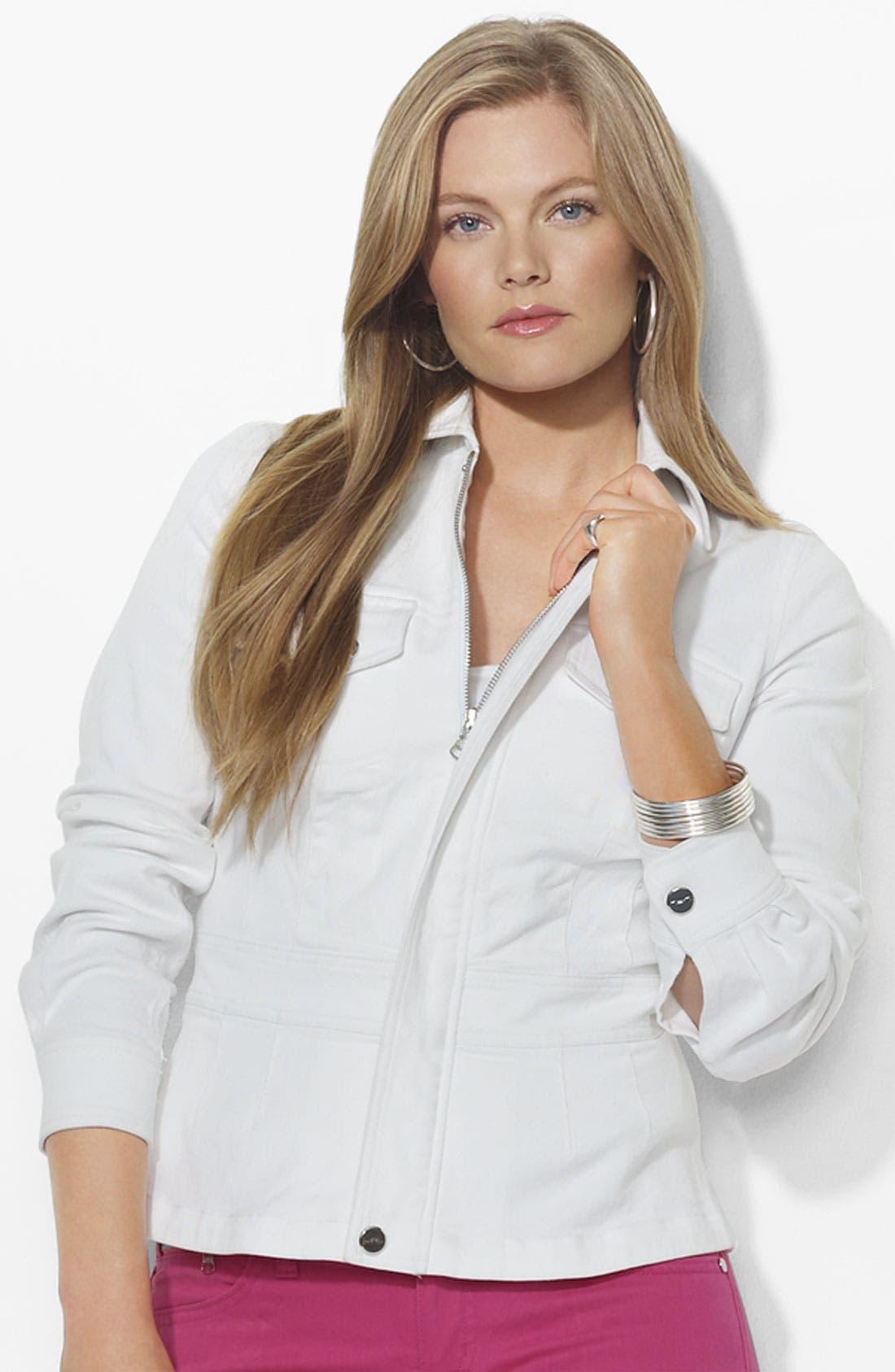Main Image - Lauren Ralph Lauren Fitted Stretch Denim Jacket (Plus)