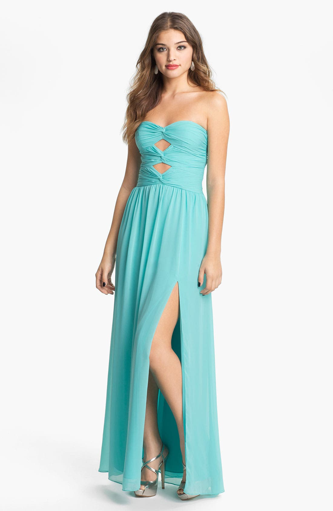 Main Image - Hailey by Adrianna Papell Cutout Detail Twist Mesh Gown