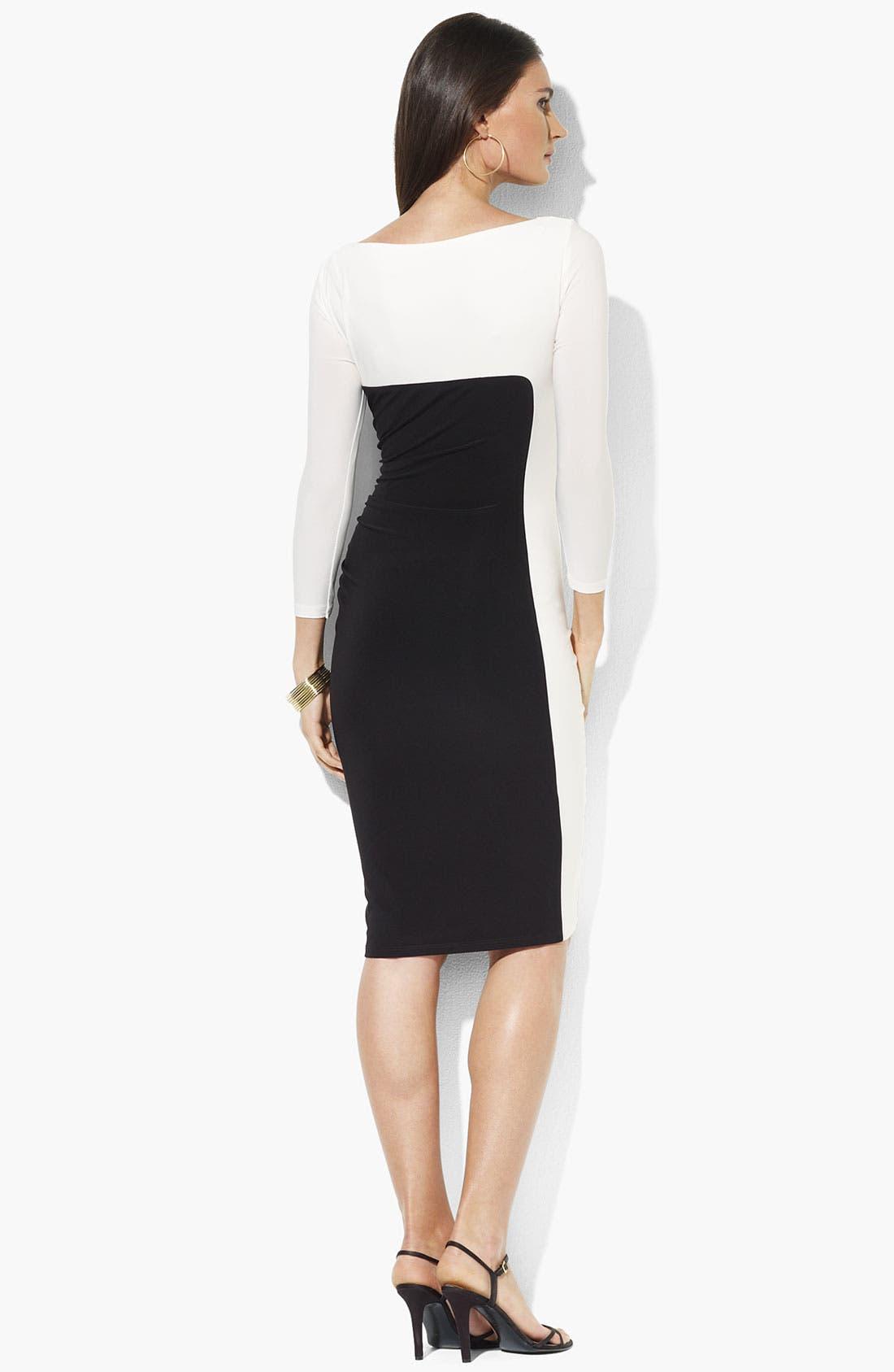 Alternate Image 2  - Lauren Ralph Lauren Colorblock Jersey Sheath Dress