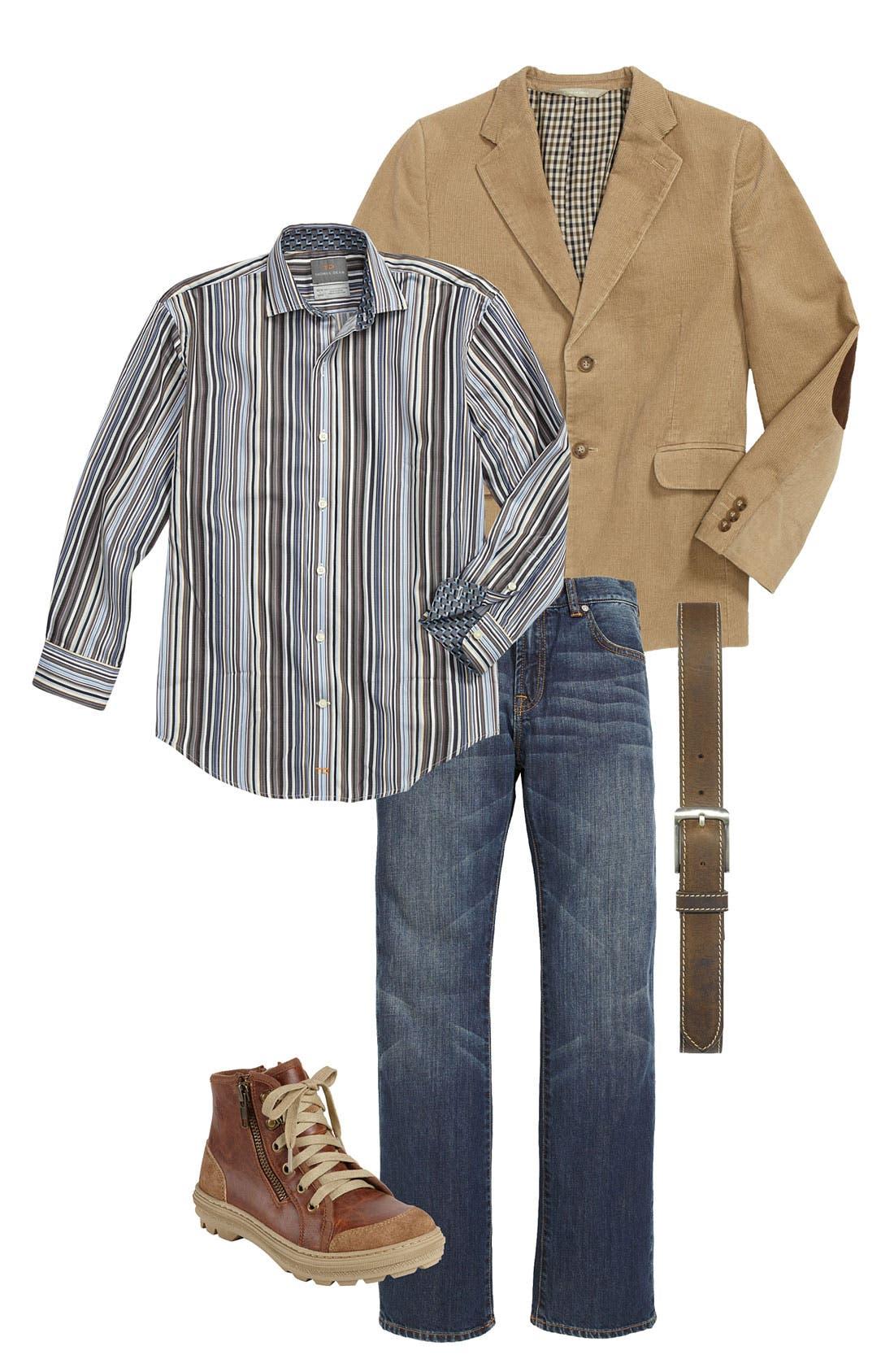 Main Image - Nordstrom Blazer, Thomas Dean Dress Shirt & Cole Haan Boot (Big Boys)