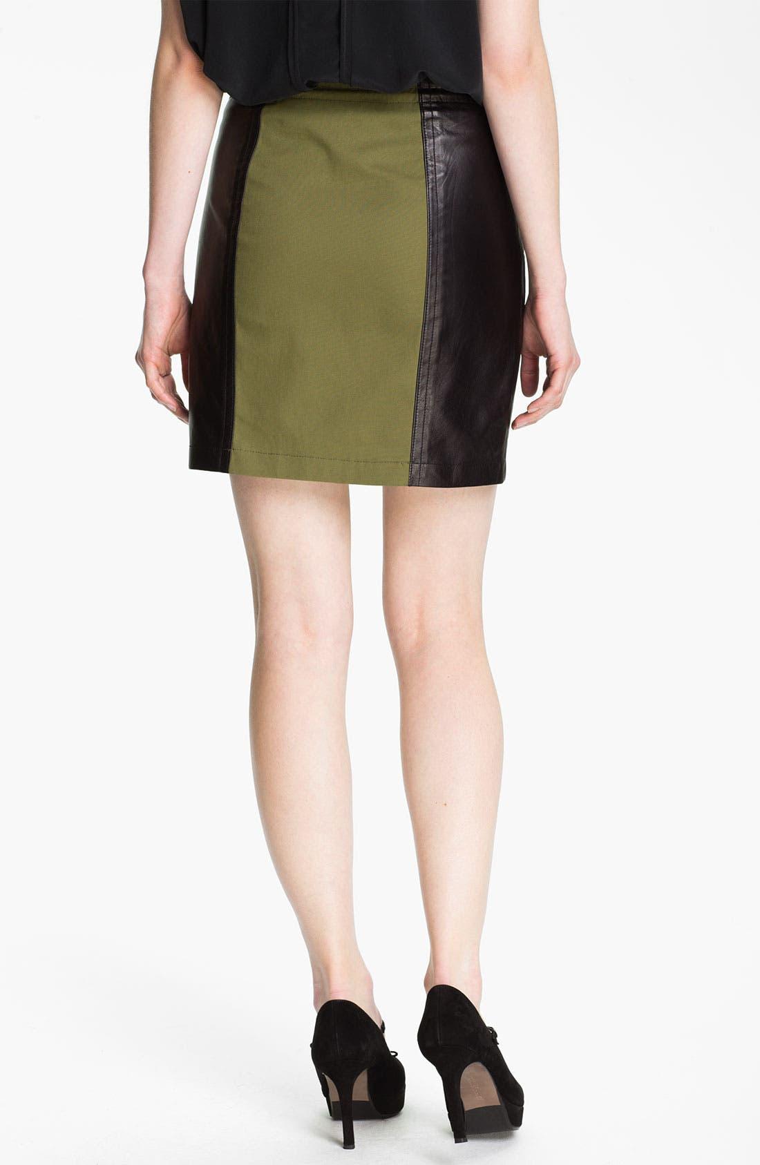 Alternate Image 2  - Cut25 Leather Panel Cotton Skirt