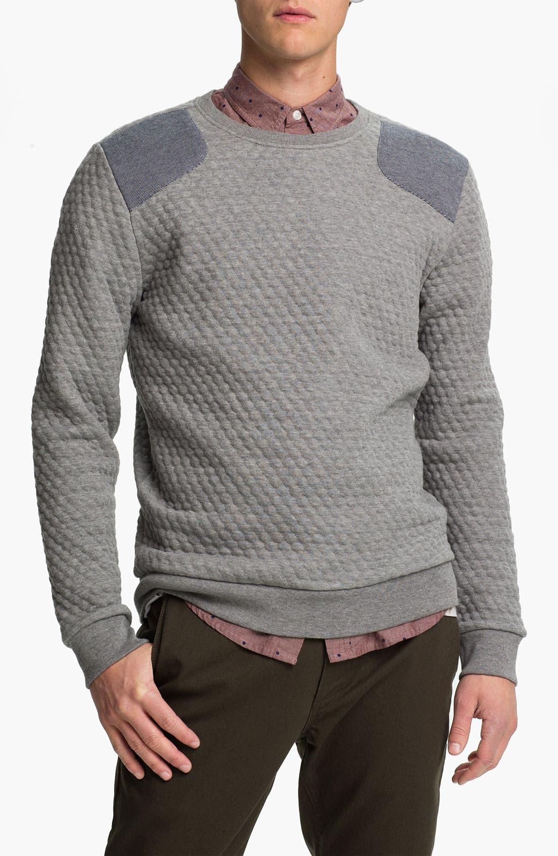 Alternate Image 1 Selected - Topman Quilted Crewneck Sweatshirt