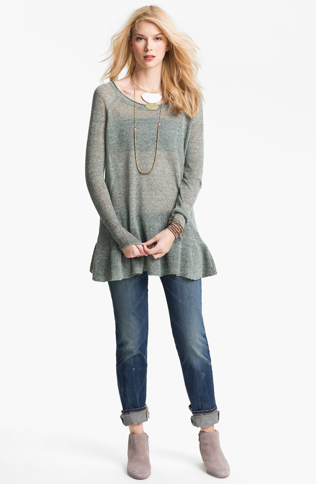 Alternate Image 1 Selected - Free People Sheer Linen Tunic Sweater
