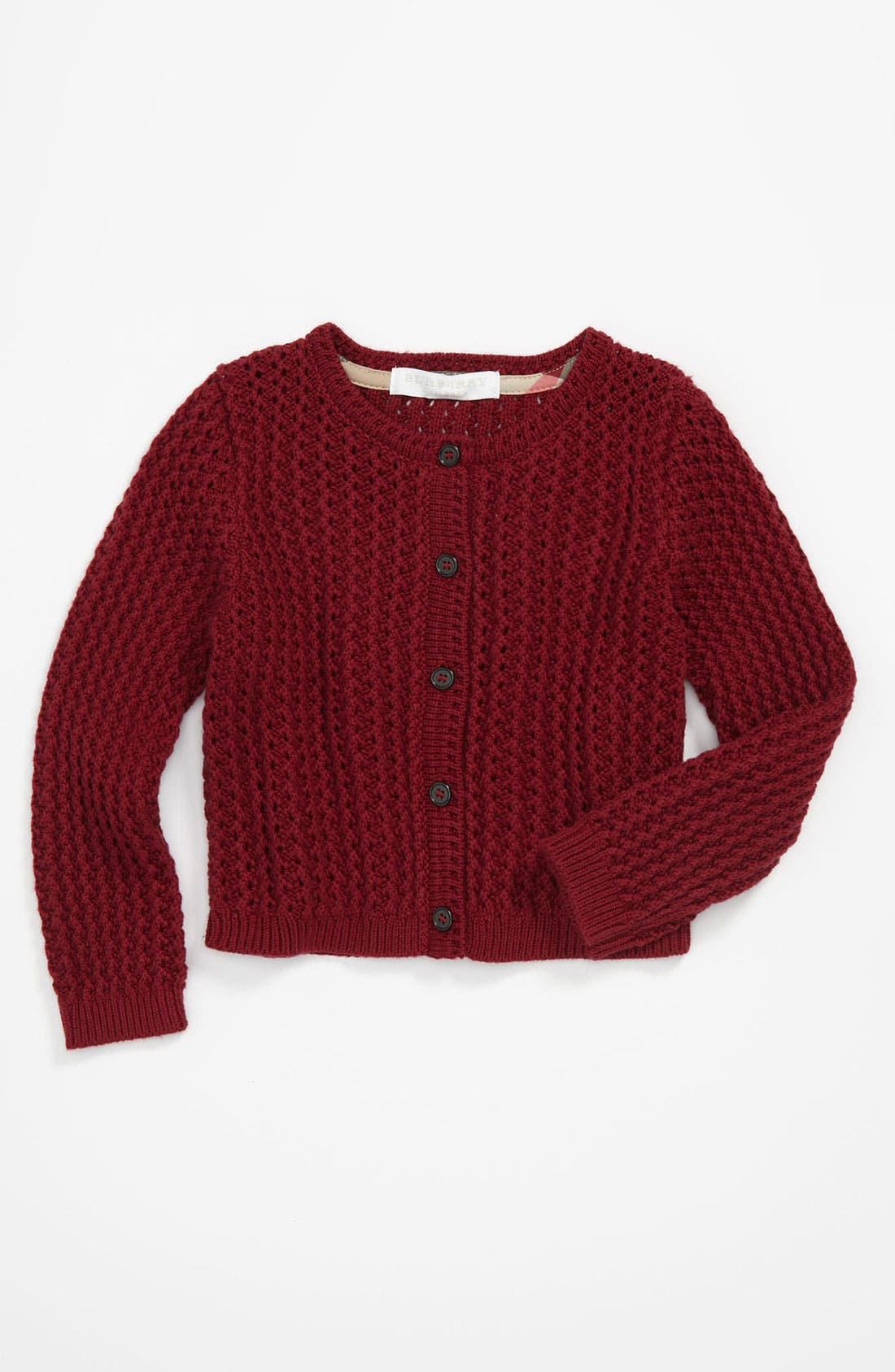 Main Image - Burberry 'Mini Tobalt' Cardigan (Baby)
