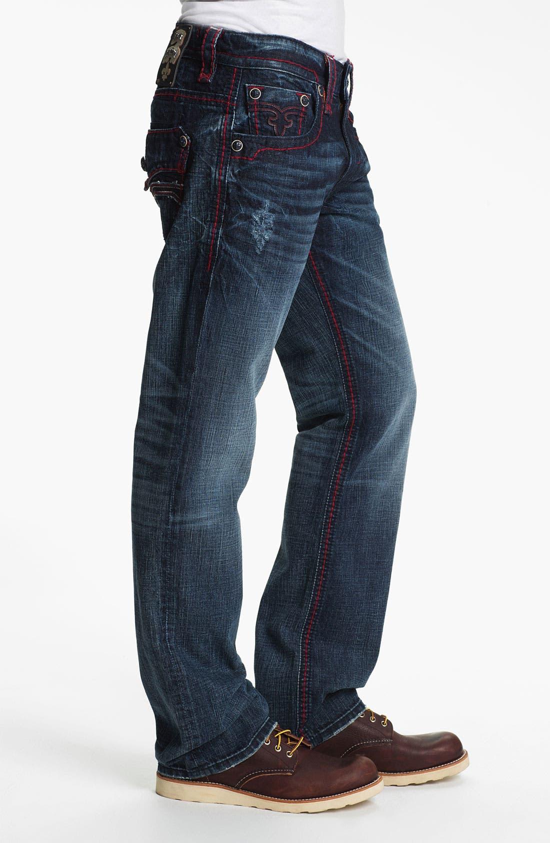 Alternate Image 3  - Rock Revival 'Dan' Straight Leg Jeans (Dark Blue)