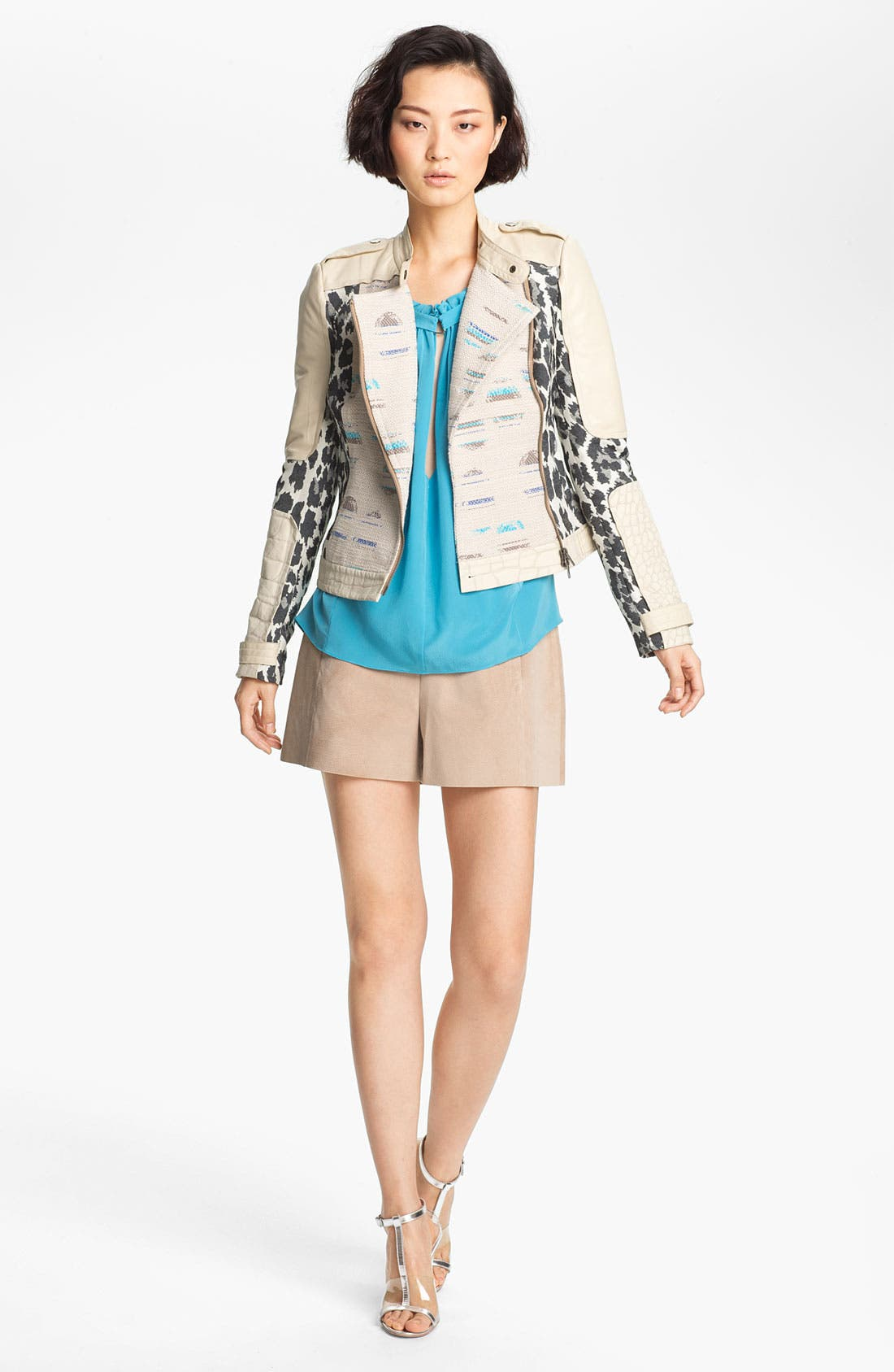Alternate Image 2  - Tracy Reese Jacquard & Leather Moto Jacket