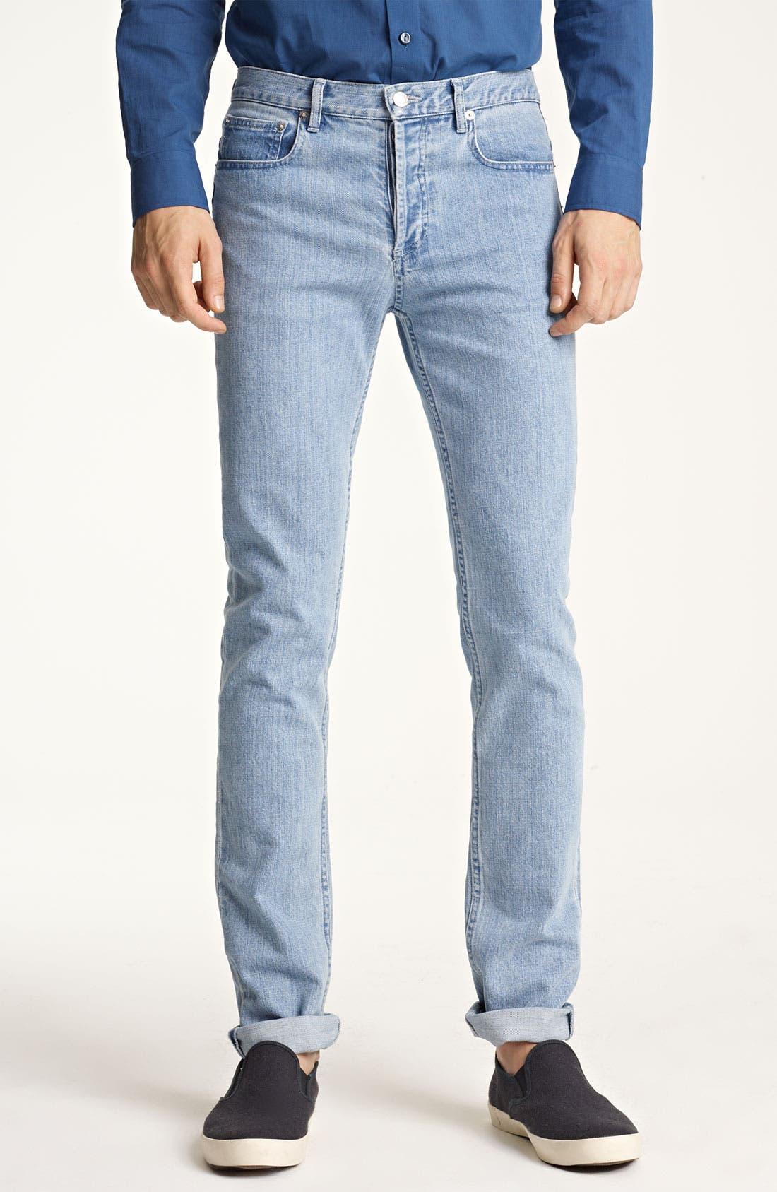 Alternate Image 1 Selected - A.P.C. 'Petit New Standard' Slim Straight Leg Jeans (Light Blue)