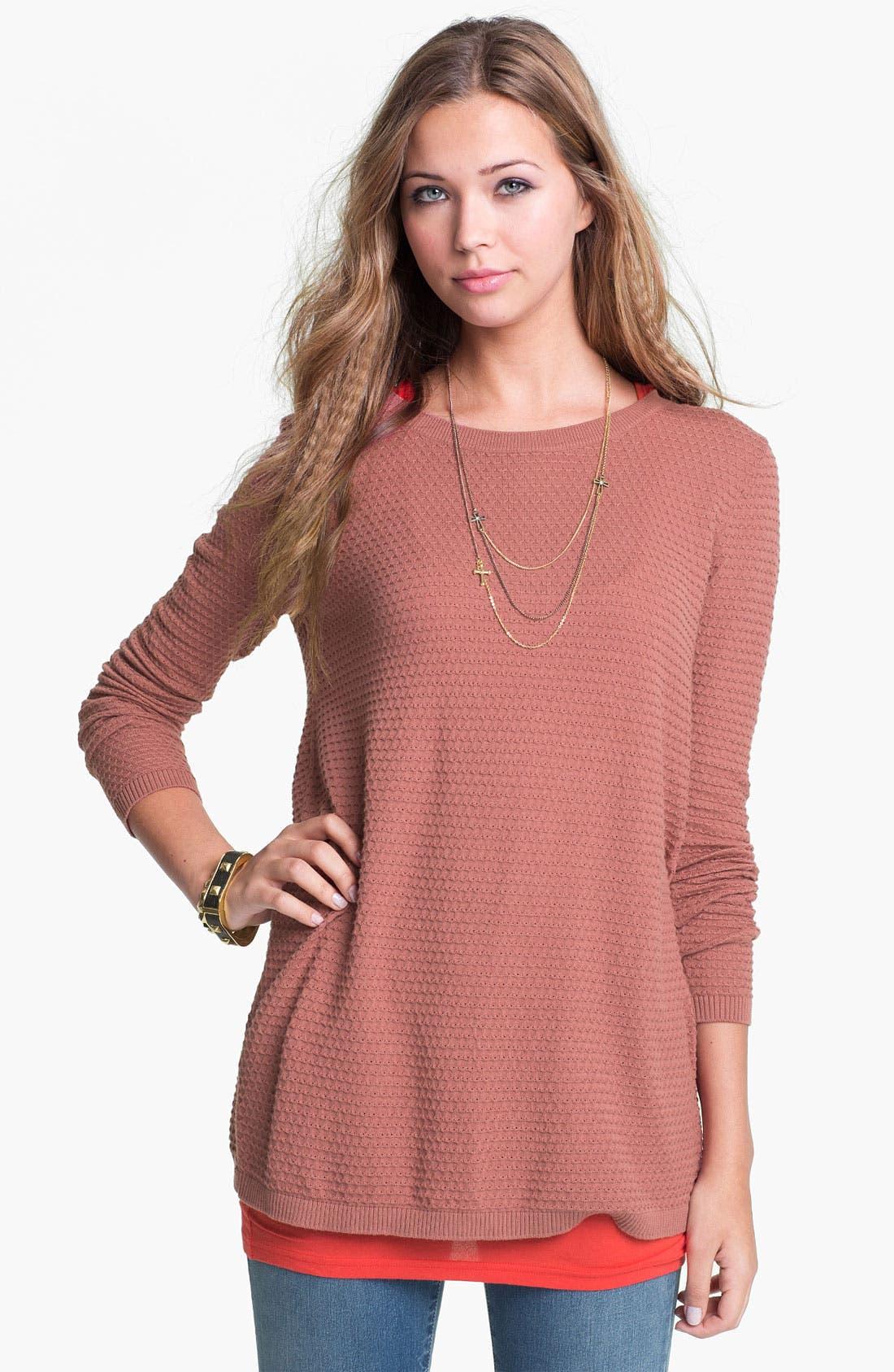 Alternate Image 2  - Frenchi® Split Back Pointelle Sweater (Juniors)
