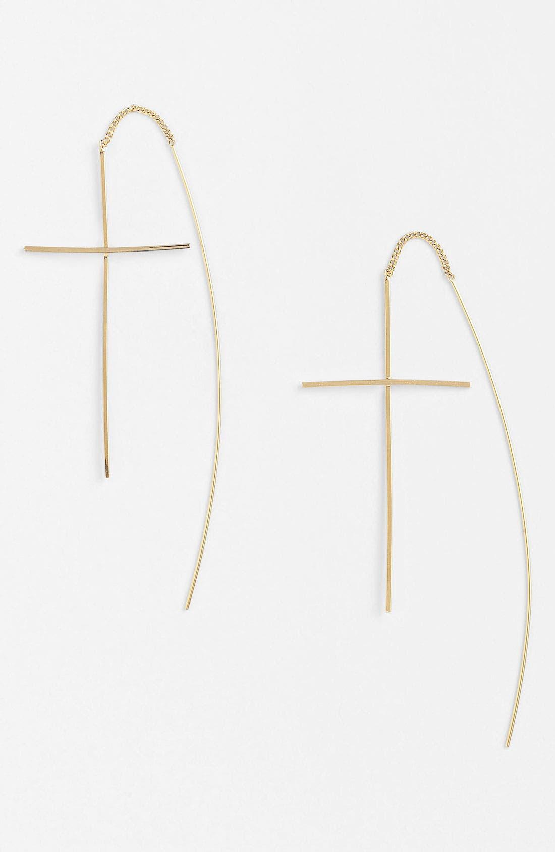 Alternate Image 1 Selected - BP. Pull-Through Cross Earrings