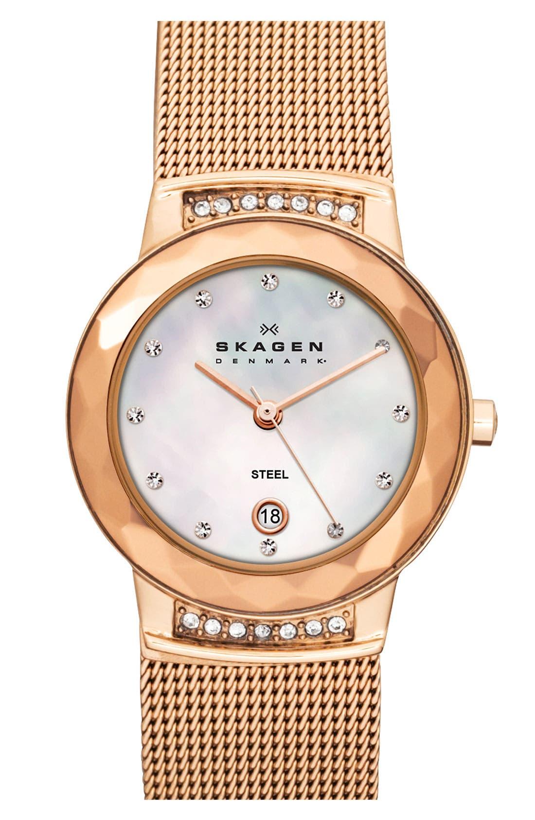 Main Image - Skagen 'Mesh' Faceted Glass Bezel Watch