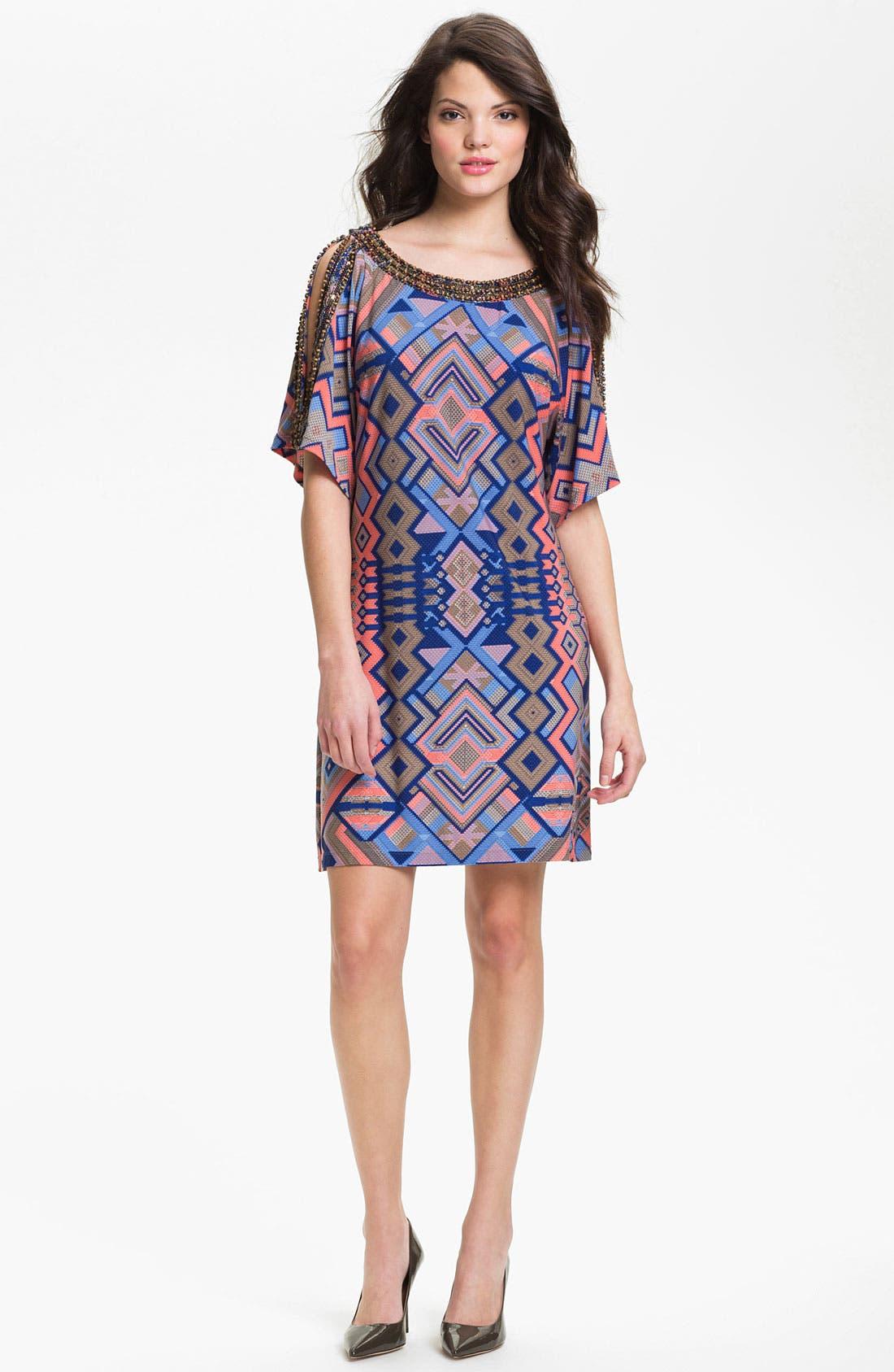 Alternate Image 1 Selected - Donna Morgan 'Becca' Embellished Print Shift Dress