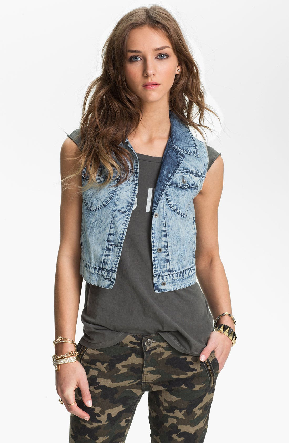 Alternate Image 1 Selected - Mimi Chica Acid Wash Crop Vest (Juniors)