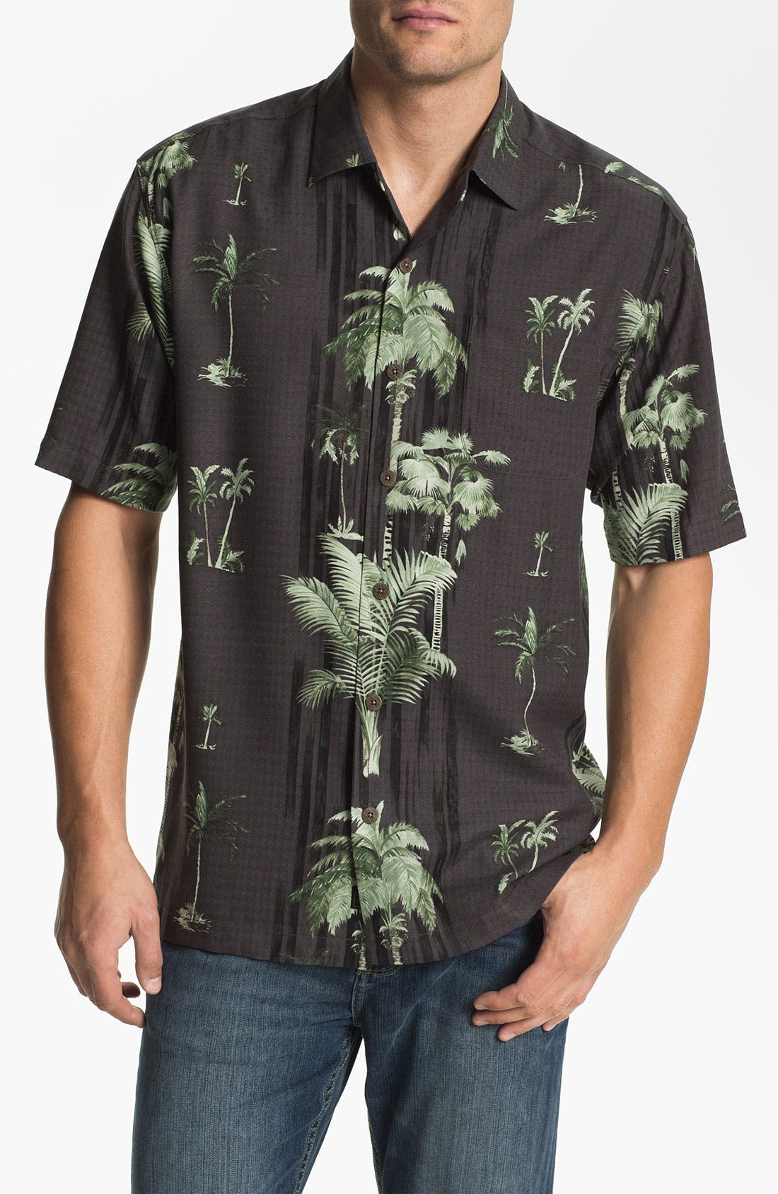 Alternate Image 1 Selected - Tommy Bahama 'Peeping Palm' Silk Campshirt