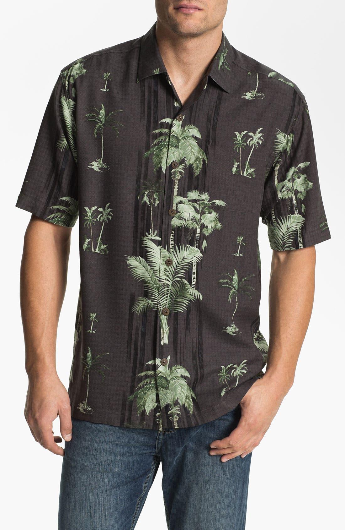 Main Image - Tommy Bahama 'Peeping Palm' Silk Campshirt