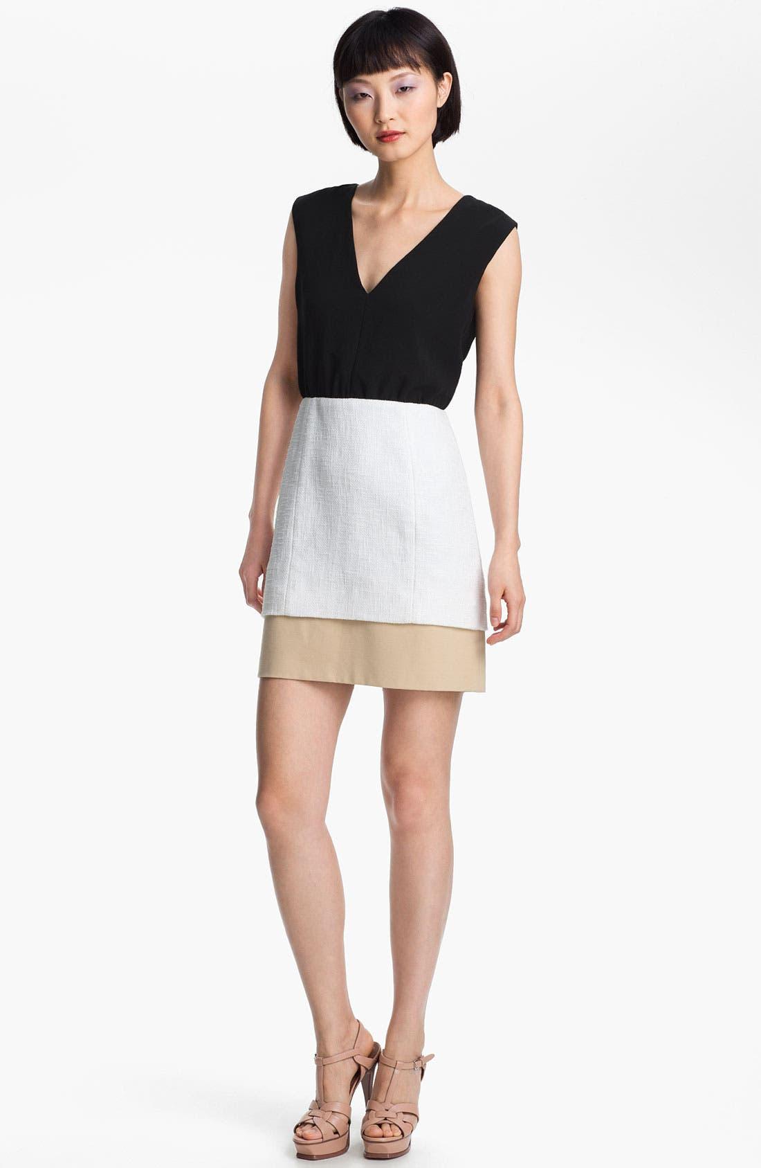 Main Image - Tibi Basket Weave Colorblock Dress