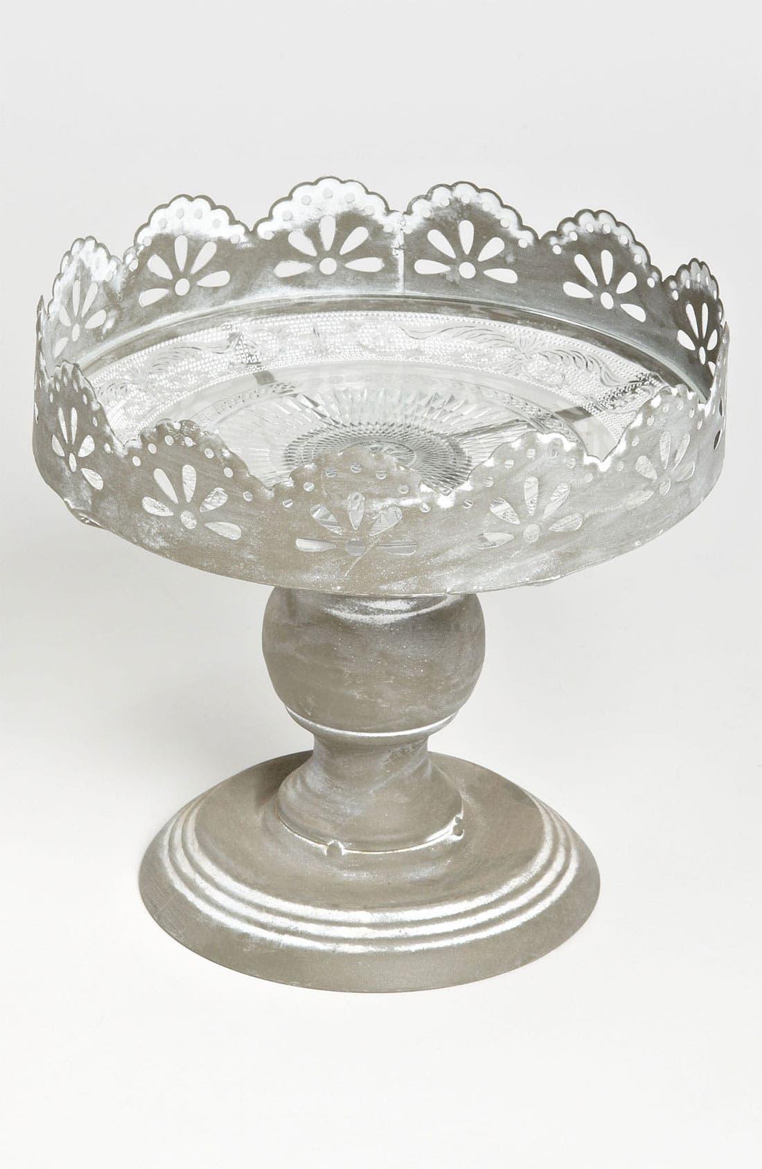 Alternate Image 1 Selected - Metal & Glass Pedestal Plate, Small
