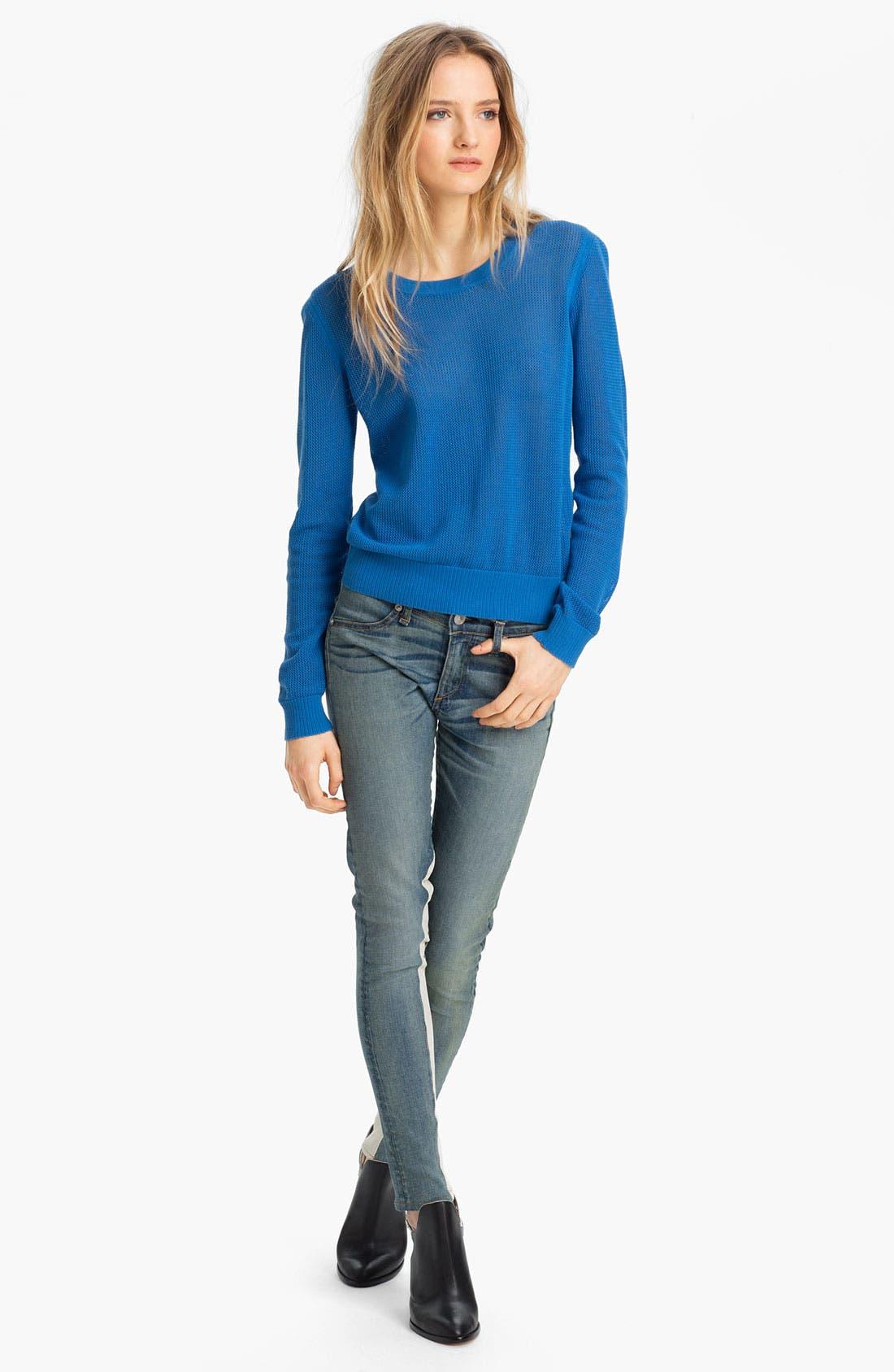 Alternate Image 3  - rag & bone/JEAN Slim Leather & Denim Jeans
