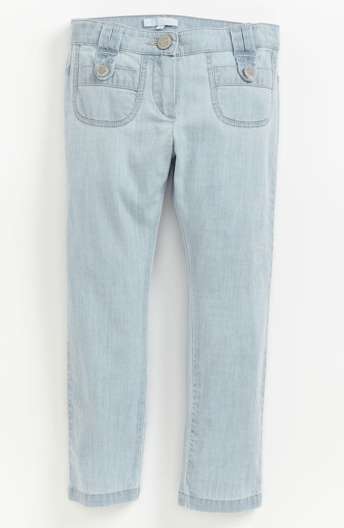 Alternate Image 2  - Chloé Bleached Denim Pants (Toddler, Little Girls & Big Girls)
