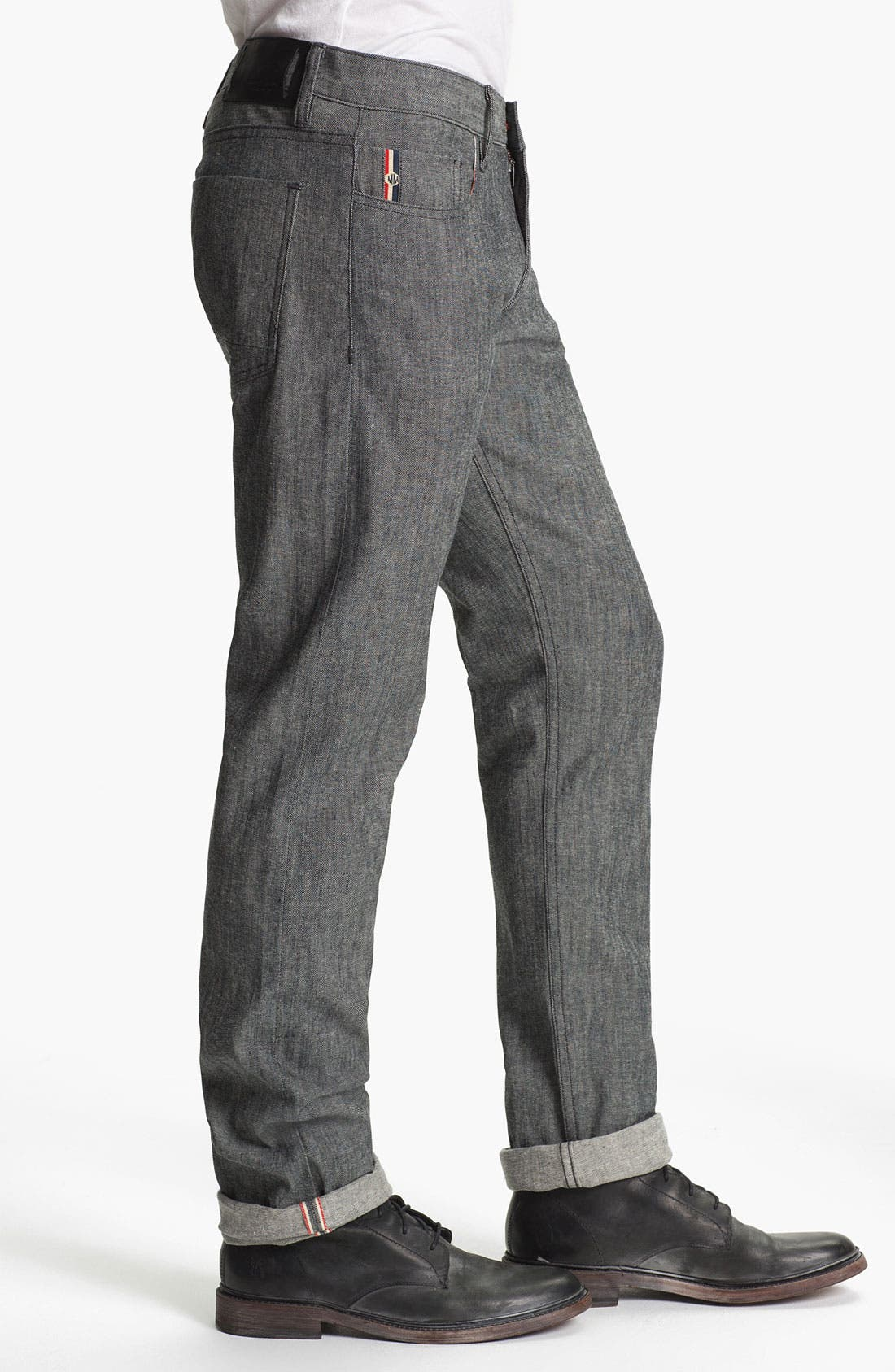 Alternate Image 3  - Denim & Leathers by Andrew Marc Tweed Slim Straight Leg Selvedge Jeans (Grey)