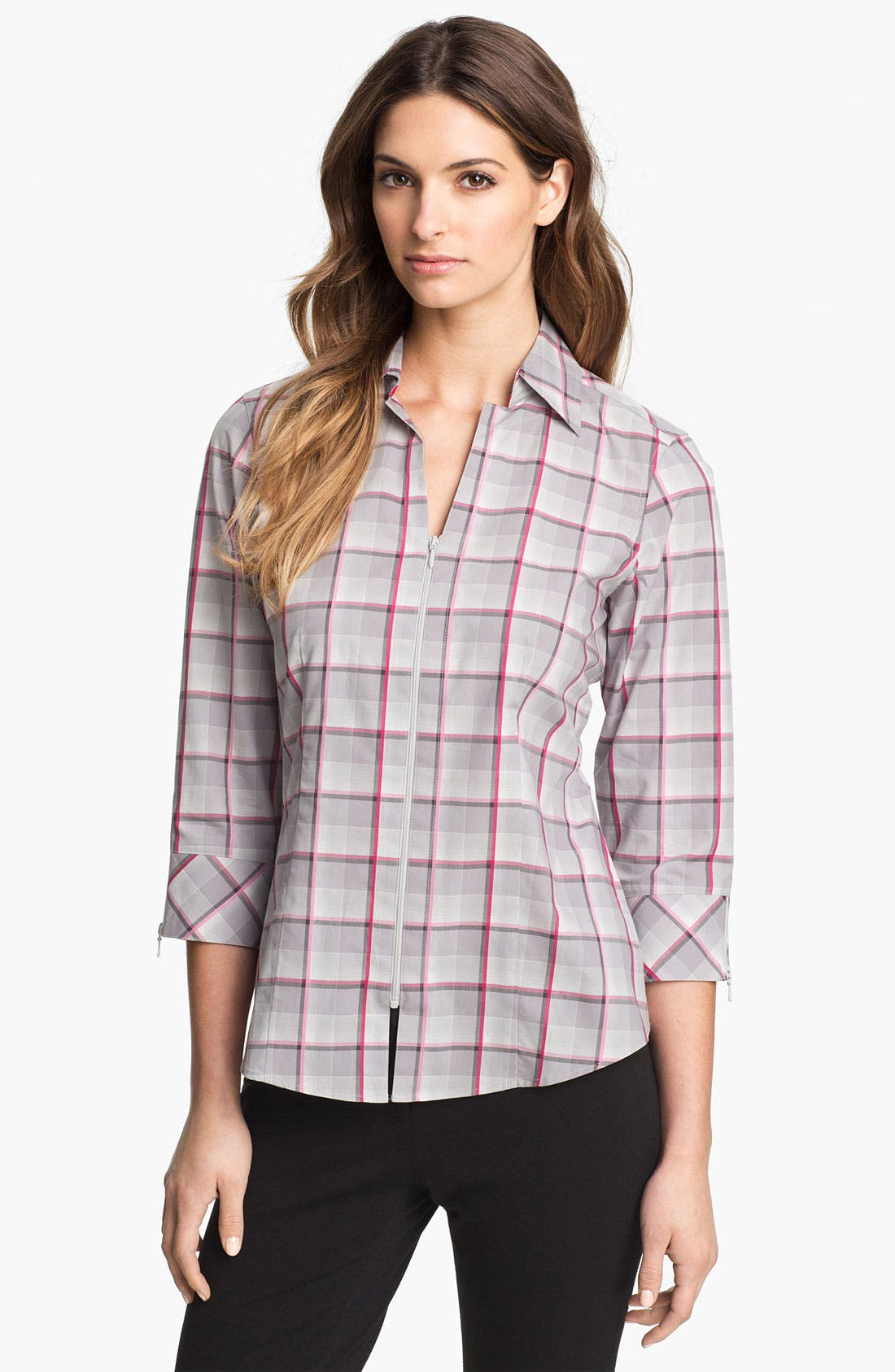 Main Image - Foxcroft Zip Front Multi Plaid Shirt (Petite)