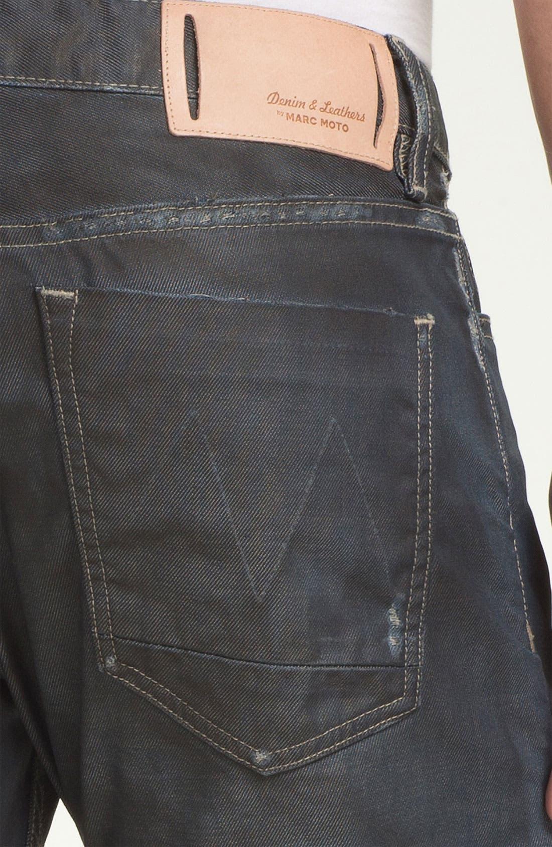 Alternate Image 4  - Denim & Leathers by Andrew Marc Corroded Slim Straight Leg Jeans (Indigo)