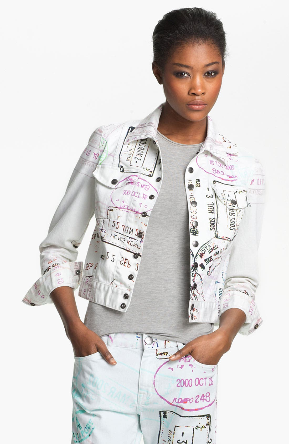 Alternate Image 1 Selected - Mary Katrantzou Current/Elliott Print Denim Jacket