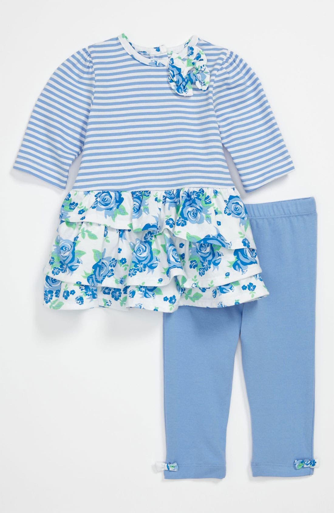 Alternate Image 1 Selected - Little Me 'Rose' Dress & Leggings (Infant)