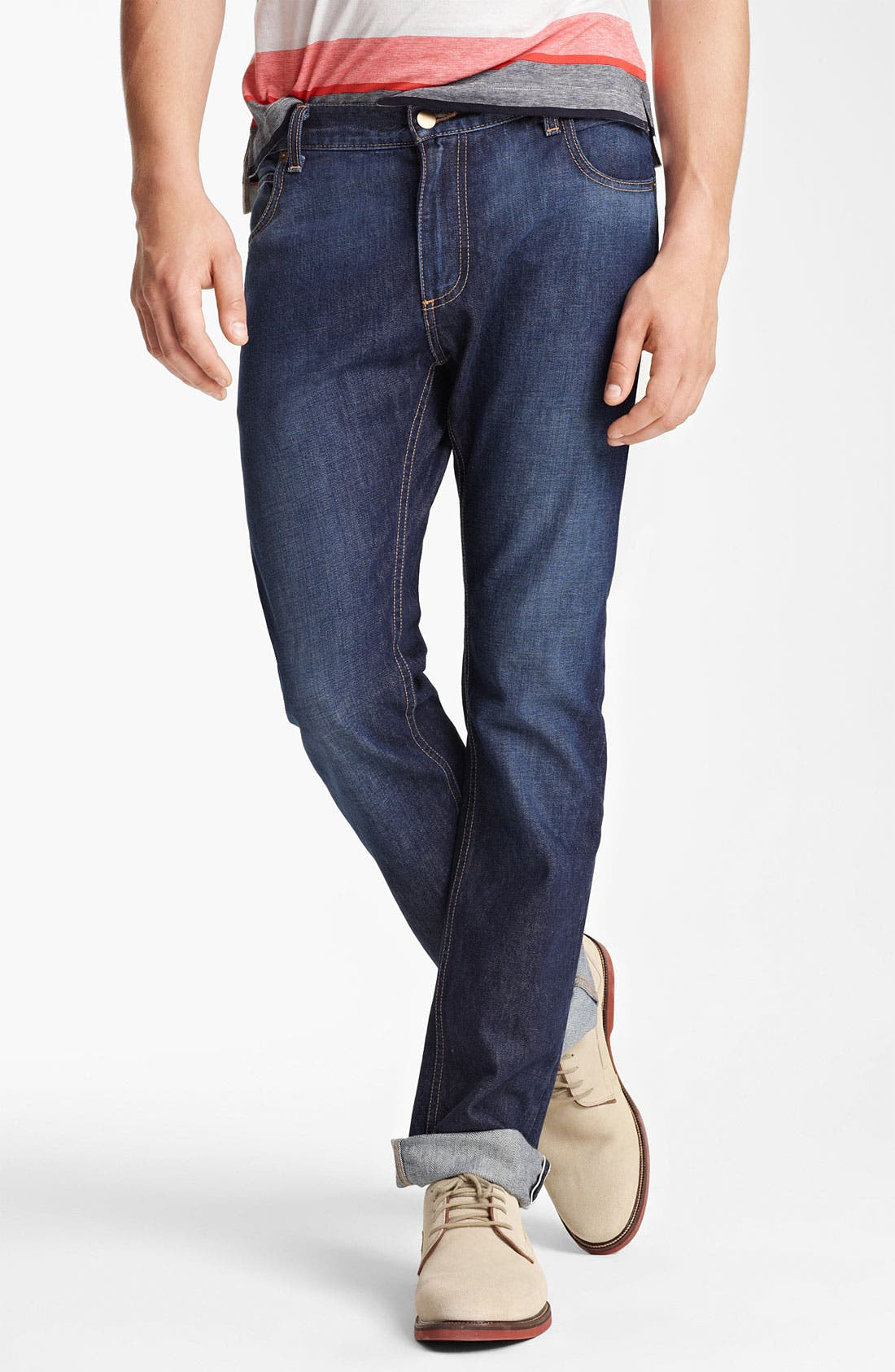 Main Image - Billy Reid Slim Fit Jeans (Washed Blue)
