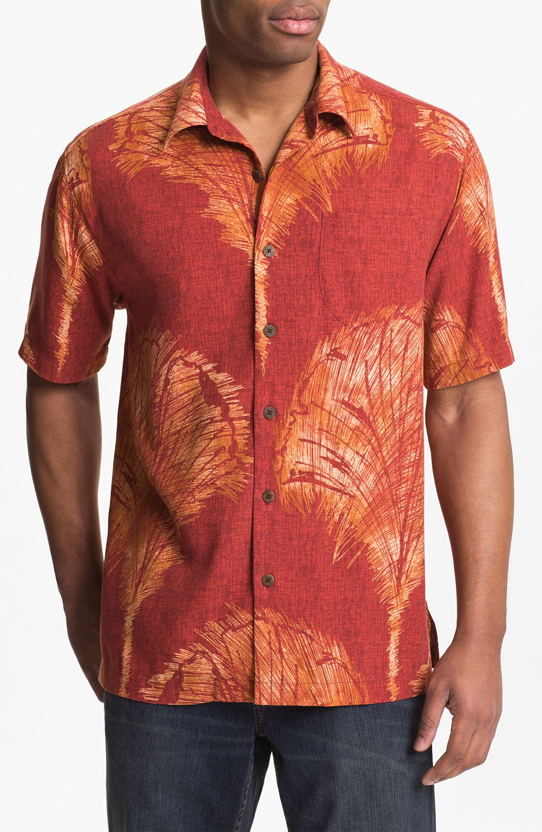 Main Image - Tommy Bahama 'Fanarama' Silk Campshirt