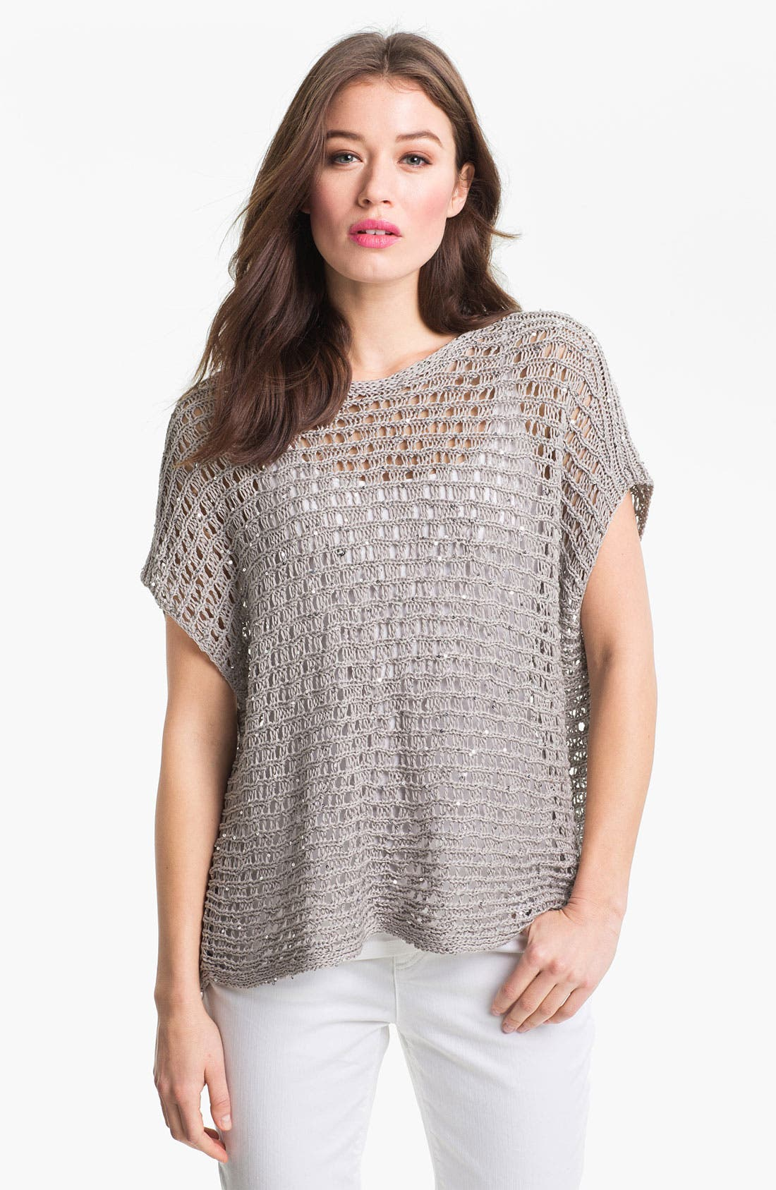 Alternate Image 1 Selected - Eileen Fisher Sequin Open Stitch Sweater