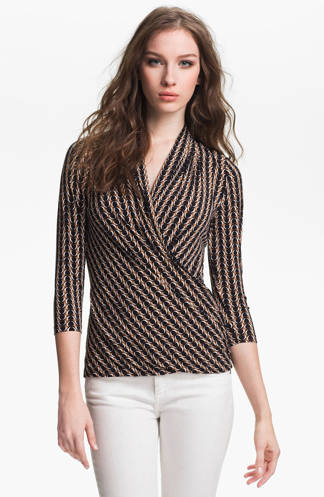 Alternate Image 1 Selected - Vince Camuto Faux Wrap Print Top