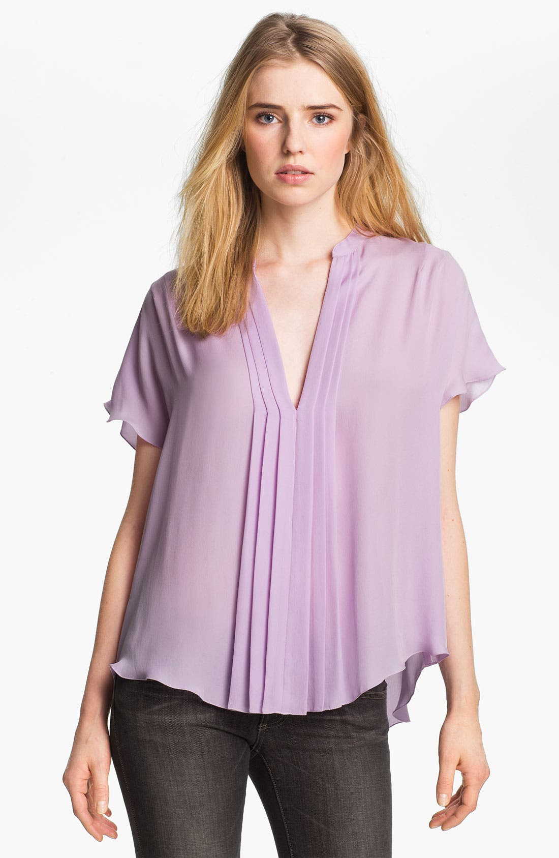 Alternate Image 1 Selected - L'AGENCE Pleated Silk Blouse
