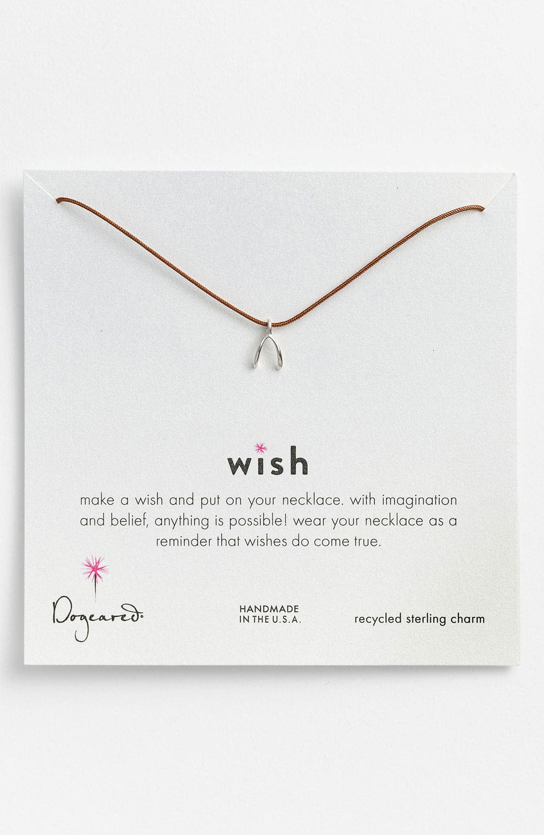 Main Image - Dogeared 'Wish' Wishbone Charm Necklace