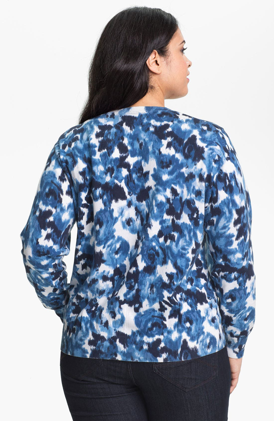 Alternate Image 2  - Foxcroft Ikat Print Cardigan (Plus) (Online Only)