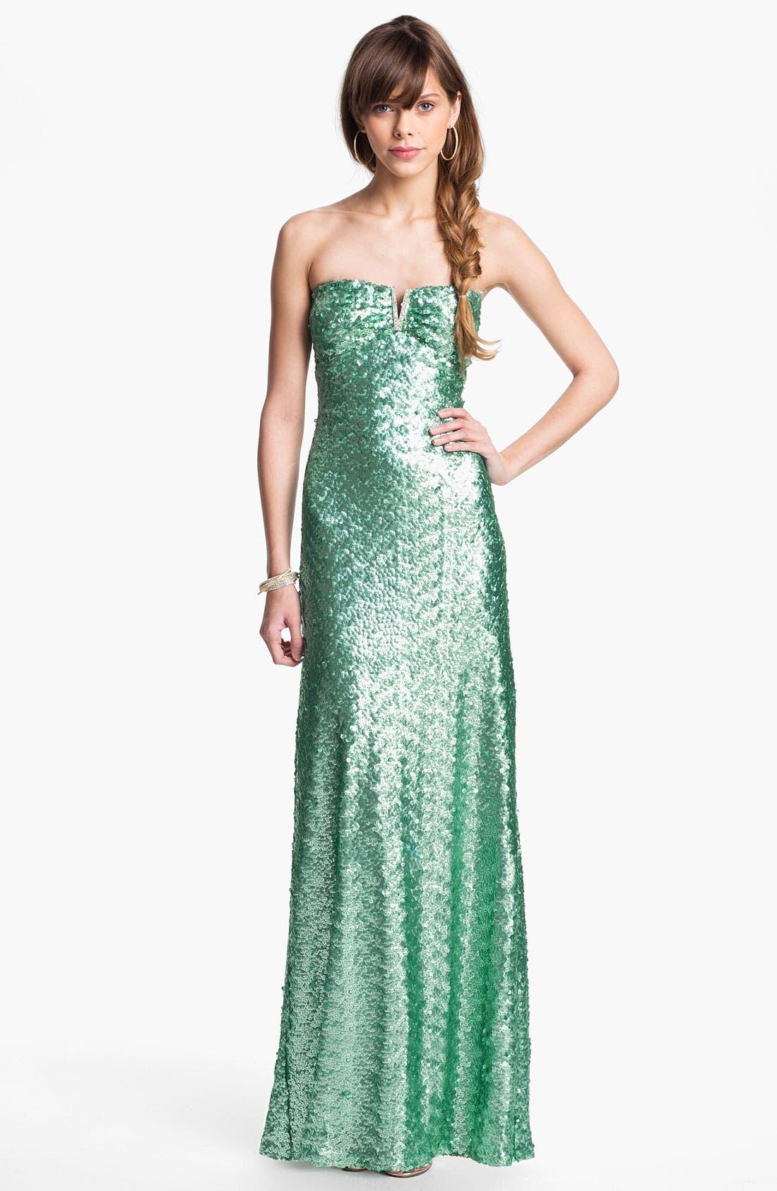 Main Image - As U Wish Notch Neck Sequin Gown (Juniors)