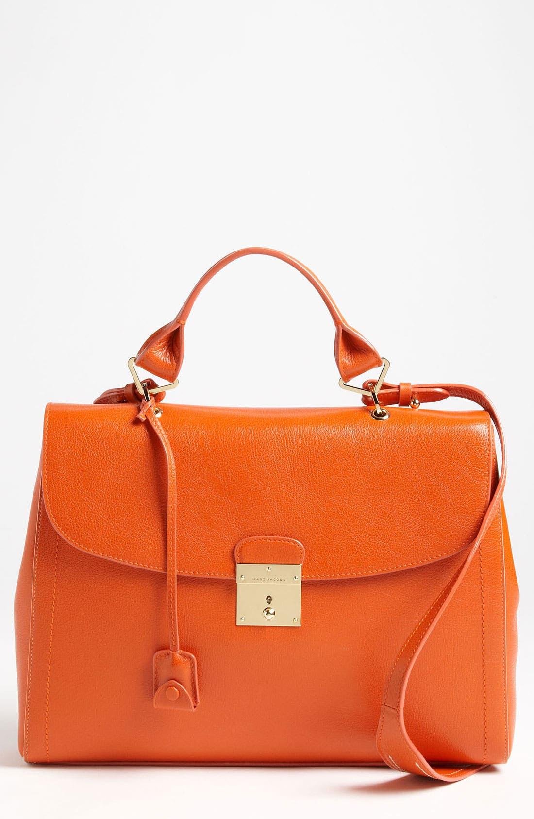 '1984' Leather Satchel,                         Main,                         color, Mandarin